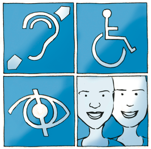 Ilustração representando deficiência auditiva, motora, visual e duas pessoas sem deficiência