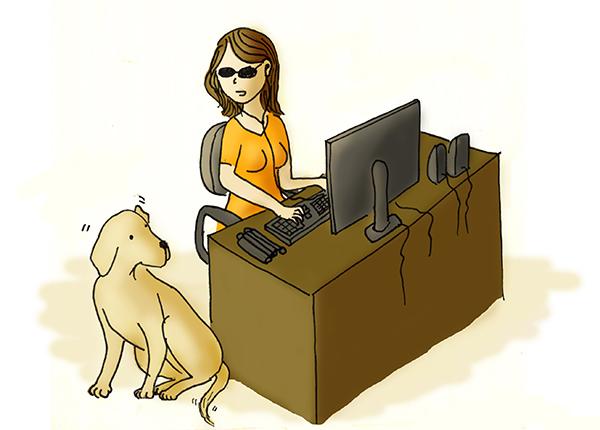 Ilustração de uma mulher cega utilizando um computador e um cão guia ao seu lado
