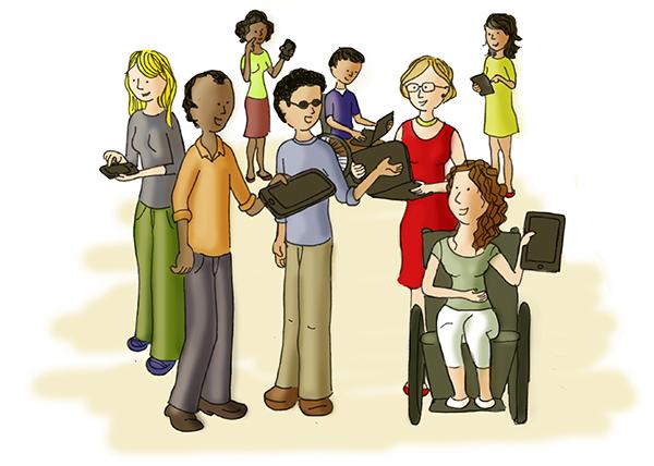 Ilustração de várias pessoas utilizando diversos disposivos