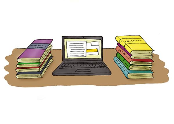Ilustração de diversos livros ao redor de um notebook