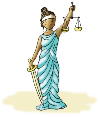 Ilustração de uma estátua da justiça, com os olhos vendados segurando uma balança e uma espada.